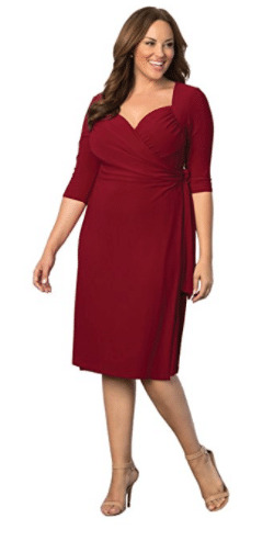 17. Kiyonna Sweetheart Knit Wrap Tea length dresses
