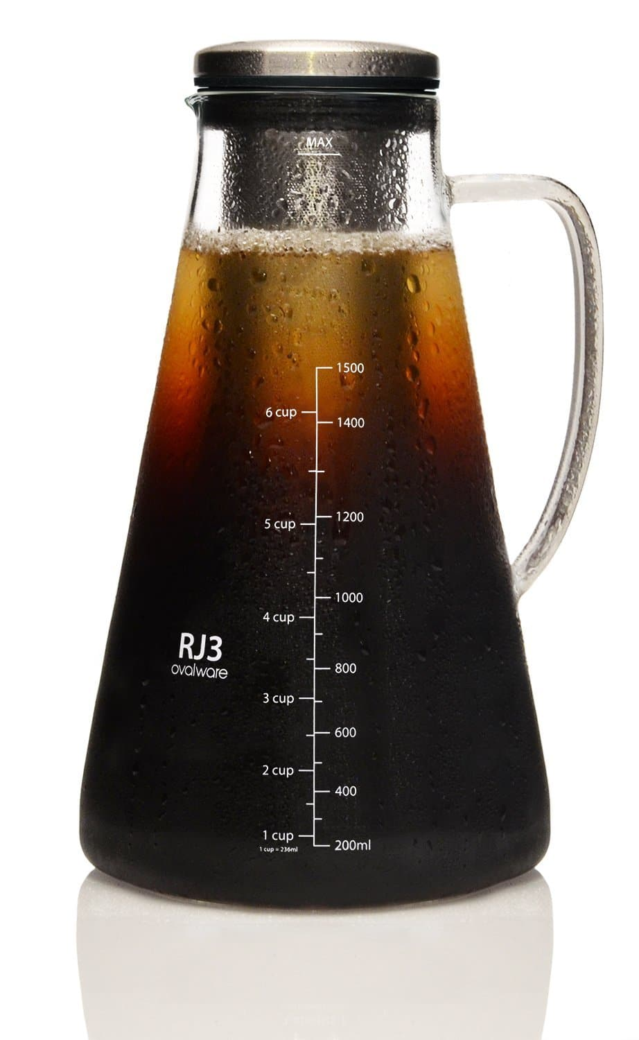 ​Ovalware RJ3 Brewing Glass Carafe with Stainless Steel Filter