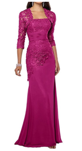 2. Pretygirl Women's Lace Long Mother Of The Bride Dress