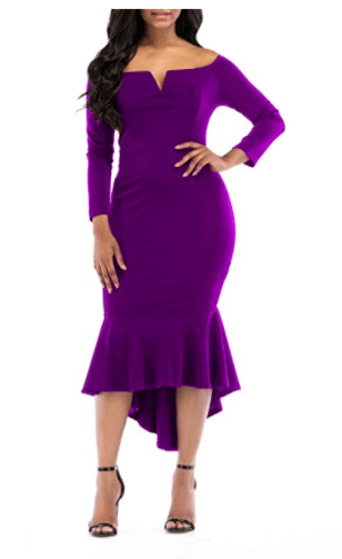 24. ONLYSHE Off-Shoulder Bodycon Dress Tea length dresses