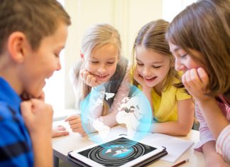 kids using a leapfrog tablet