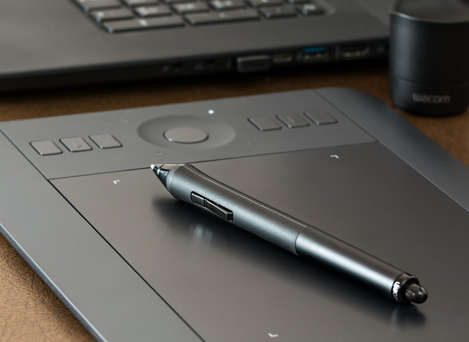 a graphics tablet with pen