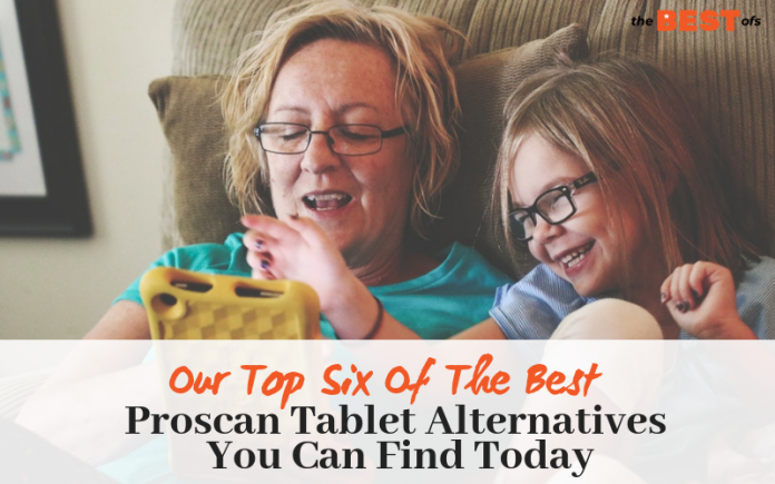 grandma and granddaughter smiling and using one of the best proscan tablet alternatives