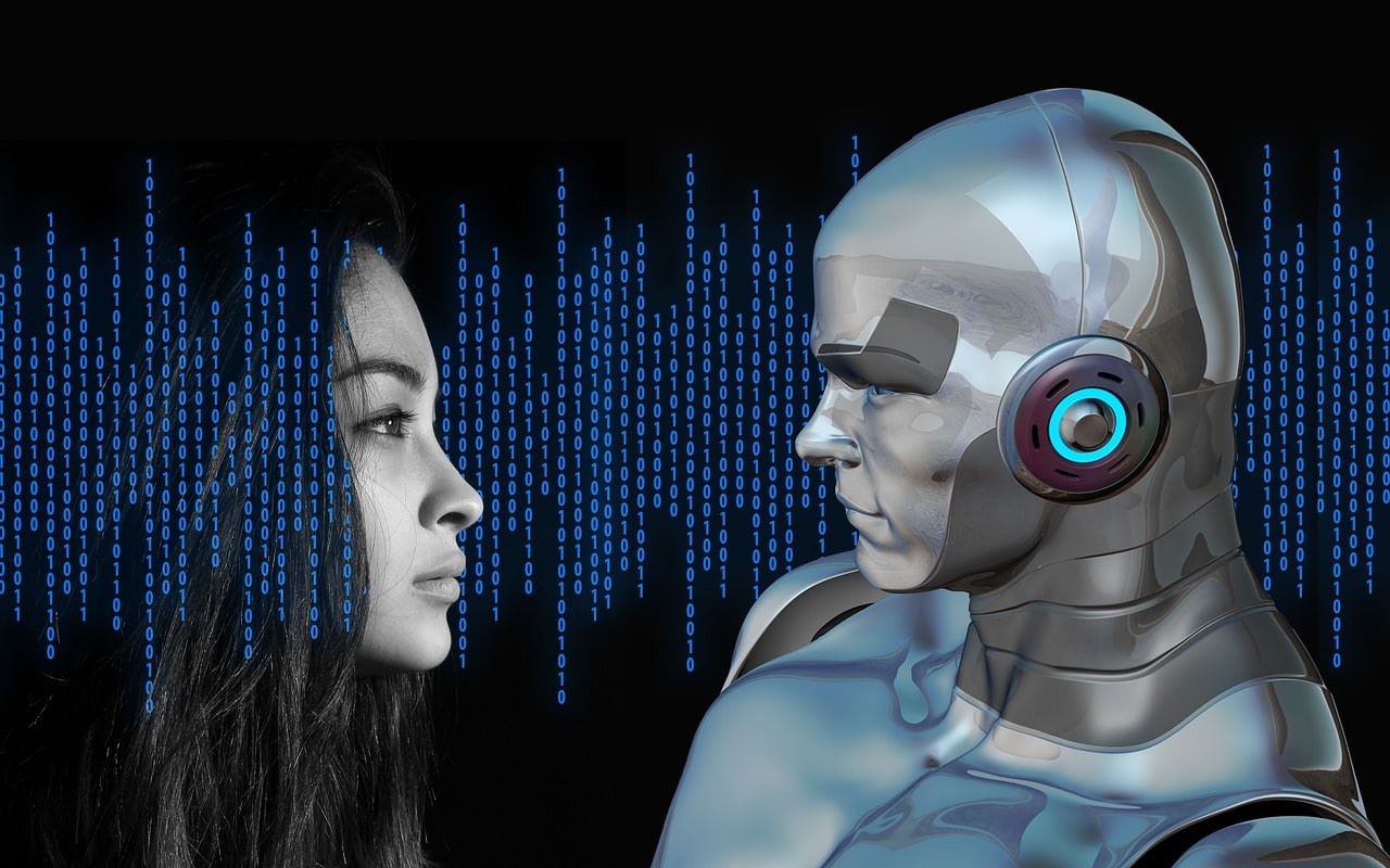 What is artificial intelligence? A human woman looking at a male cyborg with code in the background