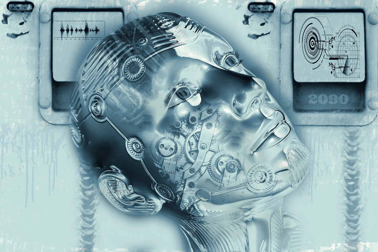 What is artificial technology? Illustration of a silver cyborg face